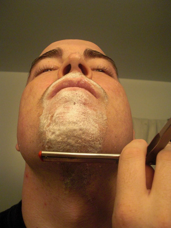 Shaving below chin