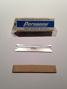 A picture of a Personna blade and the box it came up.