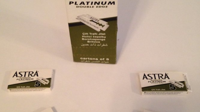 An image showing packs of astra blades