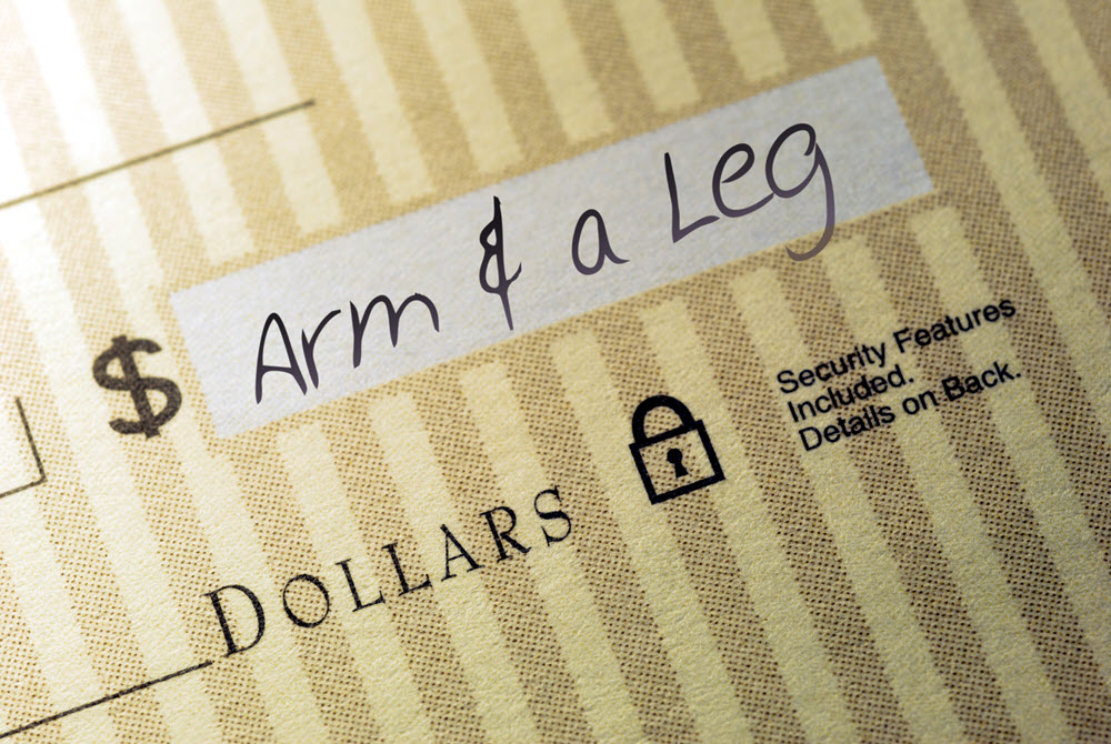 """A picture of a check for the amount of an """"Arm & a Leg"""""""