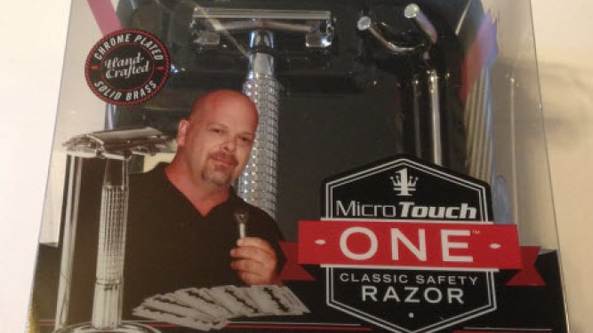 A picture of the microtouch one safety razor in box