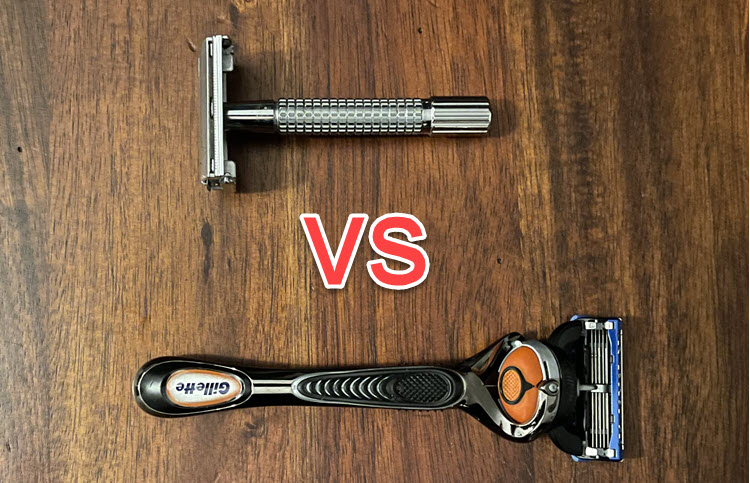 """The word """"VS"""" in between a safety razor and a Gillette Fusion Proglide cartridge razor"""