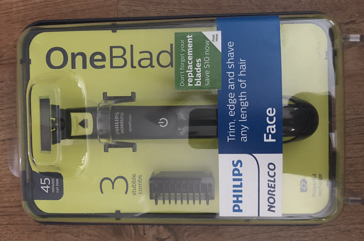 "A picture of a Philips Norelco OneBlade ""Face"" razor still in the packaging."