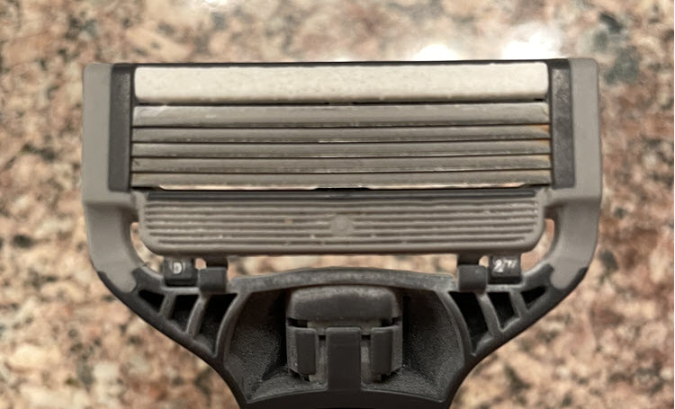 Front of Harry's razor cartridge razor after seven shaves.