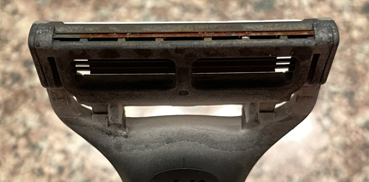 Rusted rear-blade of Harry's razor after twenty-three shaves.