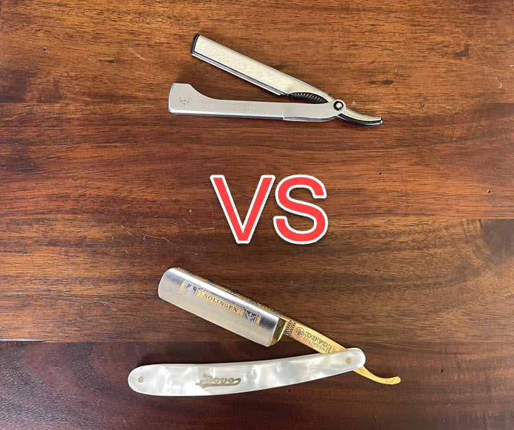 A Dovo shavette sitting on a wooden surface above a Dovo straight razor with the 'VS' abbreviation between the two.